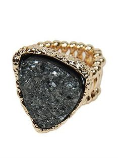 Stretchy Triangle Druzy Statement Ring only $28 at Pulse!
