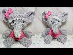 Elefante de crochê - Amigurumi - YouTube Crochet Home, Crochet Dolls, Amigurumi For Beginners, Crochet Baby Shoes, Barbie Dress, Amigurumi Doll, Free Pattern, Hello Kitty, Dinosaur Stuffed Animal