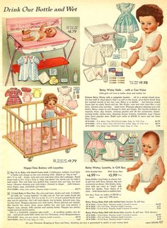 Vintage catalog page with dolls and accessories.
