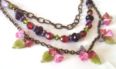 Floral Boho necklace layered chain beaded. by ArtfulTrinkets1, $80.00