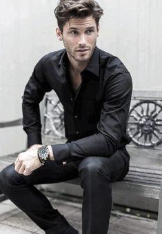 Black dress a pants/trouser, black shirt men's fashion menswear men&ap Gentleman Mode, Gentleman Style, Dapper Gentleman, Mode Masculine, Sharp Dressed Man, Well Dressed, Stylish Men, Men Casual, Mode Man