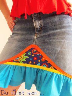 Du fil et mon...: Recyclage de Jeans : jupe FrouFrou