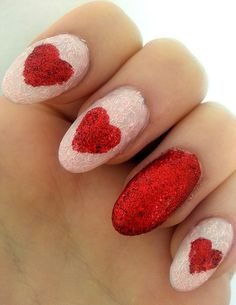 Red Heart, glitter, valentines nail art Make sure to check out http://www.thepolishobsessed.com for nail art, tutorials, giveaways and more!