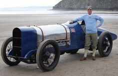 Don Wales with the original Sunbeam car in which his grandfather broke the 1925 land speed world record at Pendine Sands