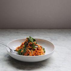 Sweet Potato Noodles + Roasted Garlic Cashew Sauce - In My Bowl