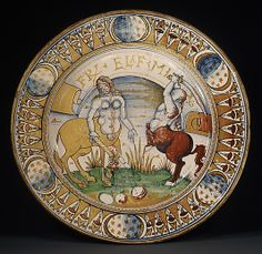 Lusterware plate depicting a centaur & centauress (c.1500-10), Deruta or Gubbio, Italy. Tin-glazed earthenware (maiolica), 17.125 in. diameter. via the Met, NYC