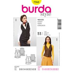 Burda Pattern 7769 Women's Vest Burda Patterns, Clothing Patterns, Sewing Patterns, Sewing Ideas, Clothes Crafts, Sewing Clothes, Patron T Shirt, Robin, Plus Size Summer Fashion