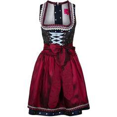 Krüger Dirndl Dirndl marine ($125) ❤ liked on Polyvore featuring dresses, short dresses, blue, purple mini dress, mini dress, polka dot dress, mid length dresses and short purple dresses