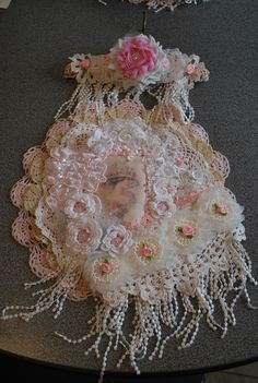 shabby chic doily wallhanging created for my swap partner Jean W. - front
