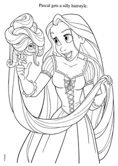 """Adorable """"Tangled"""" coloring page."""