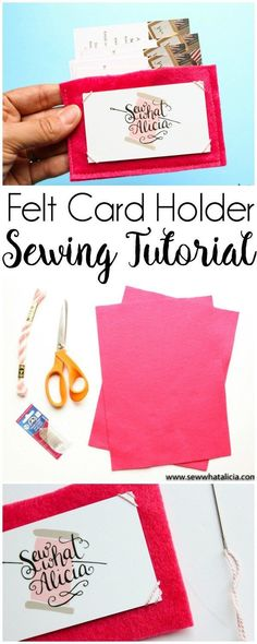 Felt Business Card Holder Tutorial: This felt business card holder is perfect for storing all your important business cards. Store your own or store all the ones you collect. Or use it for gift cards! Click through for the full tutorial. | www.sewwhatalic
