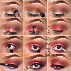 Oktoberfest (CS) in crease as transitional color || Barista (CS) in crease to add dimension || Electric coral pigment (MAC) all over the lid, applied with fix+ || Neon red (CS) applied in crease to blend the coral into the browns || Neon red on the lower lashline || Barista applied directly underneath lashes || Milani white eyeliner || Mascara of choice || Falsies of choice  - @ mickipeezie