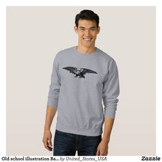 Old school illustration Bald Eagle Men Sweatshirts - Outdoor Activity Long-Sleeve Sweatshirts By Talented Fashion & Graphic Designers - #sweatshirts #hoodies #mensfashion #apparel #shopping #bargain #sale #outfit #stylish #cool #graphicdesign #trendy #fashion #design #fashiondesign #designer #fashiondesigner #style
