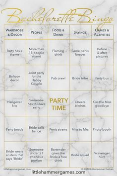 Bachelorette Bingo is a fun bachelorette party game designed for introverts. It makes a game out of people watching. Shop now Diy Party Games, Party Ideas, Bachelorette Party Food, Princess Party Games, Drinking Quotes, Pub Crawl, Party Bus, Bingo, Card Games