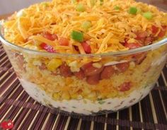 Prepare this a colorful layered salad that tastes like a fiesta in a bowl. Mexican Cornbread Salad is perfect for summer meals. Mexican Cornbread Salad, Cornbread Salad Recipes, Mexican Food Recipes, Ethnic Recipes, Salad Dressing Recipes, The Ranch, Soup And Salad, Cooking Recipes, Yummy Food