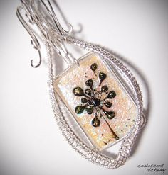 Dandelion Wishes Woven Wire Fused Glass by CoalescentAlchemy
