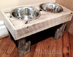 2 Bowl Reclaimed Dog Bowl Feeding Station Hand Built Pallet Pet Furniture #Handbuilt
