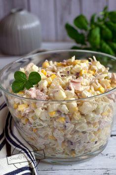 Sałatka z selerem konserwowym, jabłkiem, szynką i ananasem – Smaki na talerzu Cereal, Salads, Vegetables, Breakfast, Food, Pineapple, Morning Coffee, Salad, Veggie Food