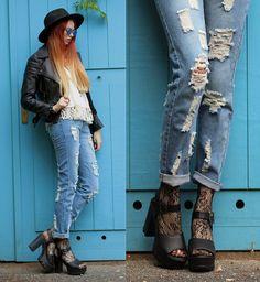 Dresslink Distressed Denim Pants, Dresslink Tassels Crop Top, H&M Faux Leather Jacket, Deichmann Platform Sandals