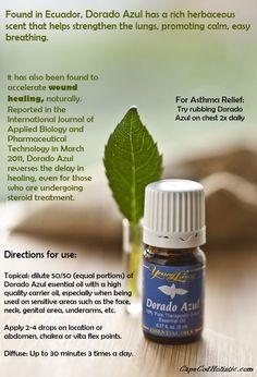 Dorado azul essential oil  For more info:  denise.stell@yahoo.com or to purchase:  http://www.youngliving.com/signup/?isoCountryCode=US&sponsorid=1671364&enrollerid=1671364