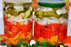 Salad for the winter from vegetables. Kefir, Pickles, Cucumber, Mason Jars, Stuffed Peppers, Vegetables, Winter, Recipes, Food