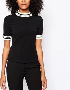 Monki High Neck T-Shirt with Contrast Trim