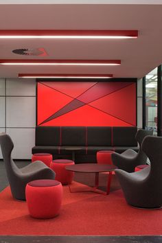 Browse the world of PROLICHT and be inspired by our take on modern lighting solutions. Red Interior Design, Interior Design Inspiration, Linear Lighting, Lighting Design, Accent Lighting, Modern Lighting, Red Interiors, Office Interiors, Light Architecture