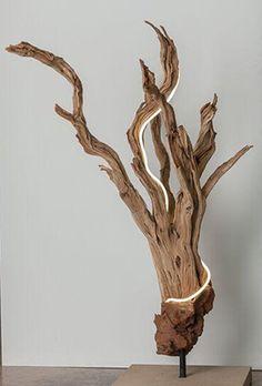 Driftwood Wall Art, Driftwood Furniture, Driftwood Sculpture, Driftwood Crafts, Bleached Wood, Deco Nature, Cool Lamps, Wood Stone, Wooden Diy