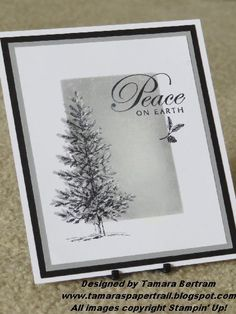 Stampin' Up! handmade Christmas card from Tamara's Paper Trail: Lovely as a Tree - Sponged panel with fir tree . shades of gray . Stamped Christmas Cards, Homemade Christmas Cards, Stampin Up Christmas, Christmas Cards To Make, Xmas Cards, Handmade Christmas, Homemade Cards, Holiday Cards, Christmas 2019