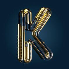 Steampunk K  #36daysoftype #typography #c4d by kaejian