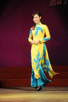 yellow and blue áo dài