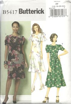 Butterick 5417 close-fitting dresses in three variations...possibly good for a 40s theme? Bias flared skirt, front pleats and darts, pussy bow. Easy. Sizes 16-22. Bought in Butterick out-of-print patterns sale for $ 1.99. 3 and 3/4 yds for 22.
