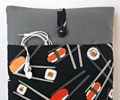 Sushi Macbook Air 11 case with Cord Pocket Laptop by MadeByJulie, $35.99