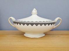 Art Deco Tureen Black and White Casserole by QueensParkVintage