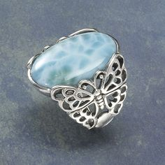 Larimar Butterfly ring - New Age & Spiritual Gifts at Pyramid Collection