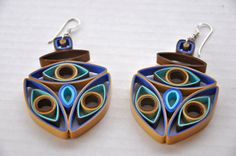 Brown Tan Blue Large Quilled Paper Circle Mod Modern Hoop Quilling Earrings Contemporary etsy.com