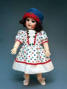 BLEUETTE dress COMME AUTREFOIS GL 1927 matching wool cloche ~ Tres Belle Poupee