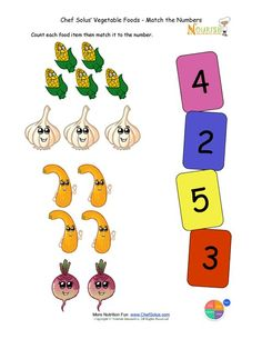 Preschool Matching Foods and Numbers Activity - The Vegetable Food Group