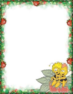 . Free Printable Stationery, Printable Paper, Borders For Paper, Borders And Frames, Blue Nose Friends, Page Borders, Cute Bee, Frame Background, First Birthday Photos