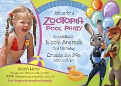 Pool Party Zootopia Birthday Invitation for Girls | Customize it with your daughter along the bunny Judy Hopps and the fox Nick Wilde. #ZootopiaBirthday #ZootopiaInvitation #ZootopiaPoolParty #myheroathome