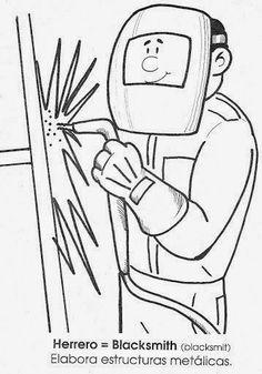 Maestra de Primaria: La profesiones en inglés y en español. Dibujos para colorear. Art Drawings For Kids, Colorful Drawings, Drawing For Kids, Community Helpers Worksheets, Hand Embroidery, Machine Embroidery, Community Workers, Community Service, School Frame