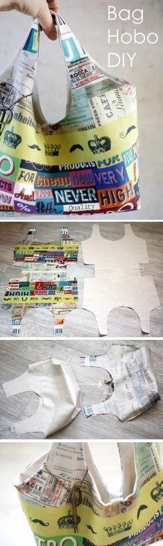 Hobo Bag Sewing Tutorial Pattern. A step-by-step tutorial with photos. http://www.handmadiya.com/2015/11/fabric-bag-hobo-diy.html #diyhandbag