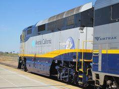 CDTX #2001 (EMD F59PHI) in Modesto, CA    Amtrak California F59PHI #2001 shoves a San Joaquin train out of the Modesto Amtrak station.