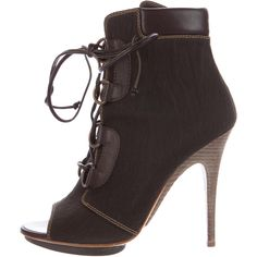 Pre-owned Giuseppe Zanotti Lace-Up Open-Toe Ankle Boots ($195) ❤ liked on Polyvore featuring shoes, boots, ankle booties, platform boots, lace up platform bootie, lace up boots, leather booties and open toe bootie