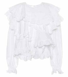 Cotton eyelet ruffle blouse | Isabel Marant