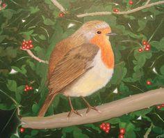'Holly Bush Robin' by Carol Capper - acrylic on canvas (30 x 25cm)