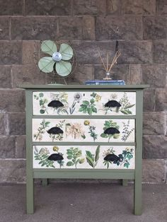 Floral Inspired Decoupaged Image Transfer Dresser