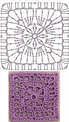 No 27 daisy centered square lace crochet motifs 데이지무늬 사각 모티브도안 Motifs Granny Square, Granny Square Crochet Pattern, Crochet Diagram, Crochet Chart, Crochet Squares, Crochet Granny, Filet Crochet, Crochet Doilies, Granny Squares