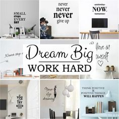 Work more fun in your office.Decorate your wall with Motivational phrases life phrase stickers. Living Room Removable Wallpaper, Window Stickers, Wall Stickers, Motivational Phrases, Wallpaper Decor, Room Wall Decor, Wall Tiles, Wall Murals, Office Decor