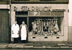 Old Butcher Shop - Bing images Dolls House Shop, Storefront Signs, Meat Shop, Butcher Shop, Shop Fronts, Old London, Old Photos, Vintage Posters, Vintage Shops